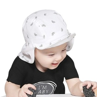 66fe5d473 Baby Soft Brim Blue/White Detachable Cute Cartoon Print Sun Hat ...