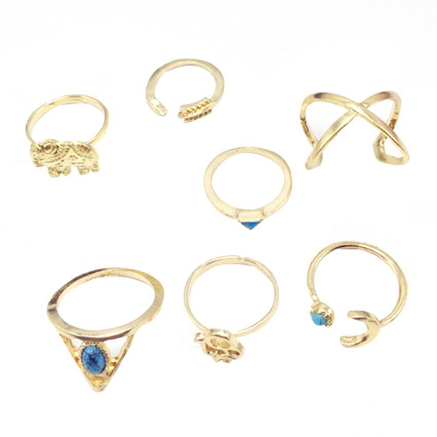 Punk Charm 6Pcs//Set Midi Above Knuckle Ring Band Gold Plated Tip Finger Stacking