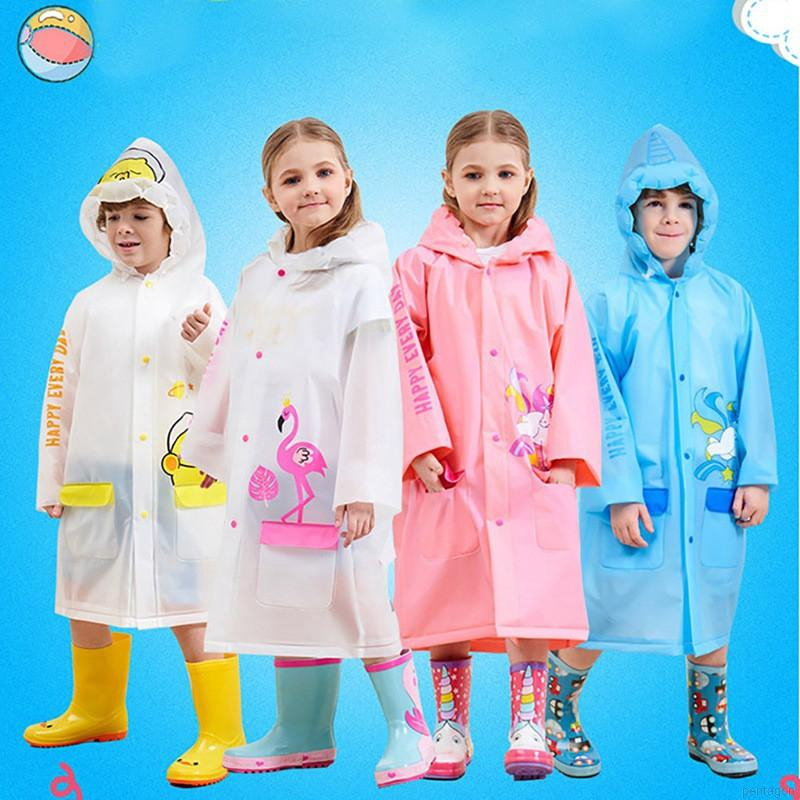 Children Hooded Cartoon Thicken Raincoats Waterproof Poncho Rainwear Rainsuit