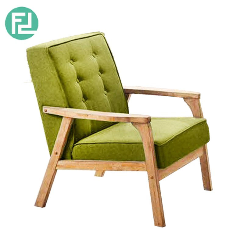 Furniture Direct SOMERSET SOLID WOOD 1 SEATER CUSHION FABRIC SOFA-GREEN