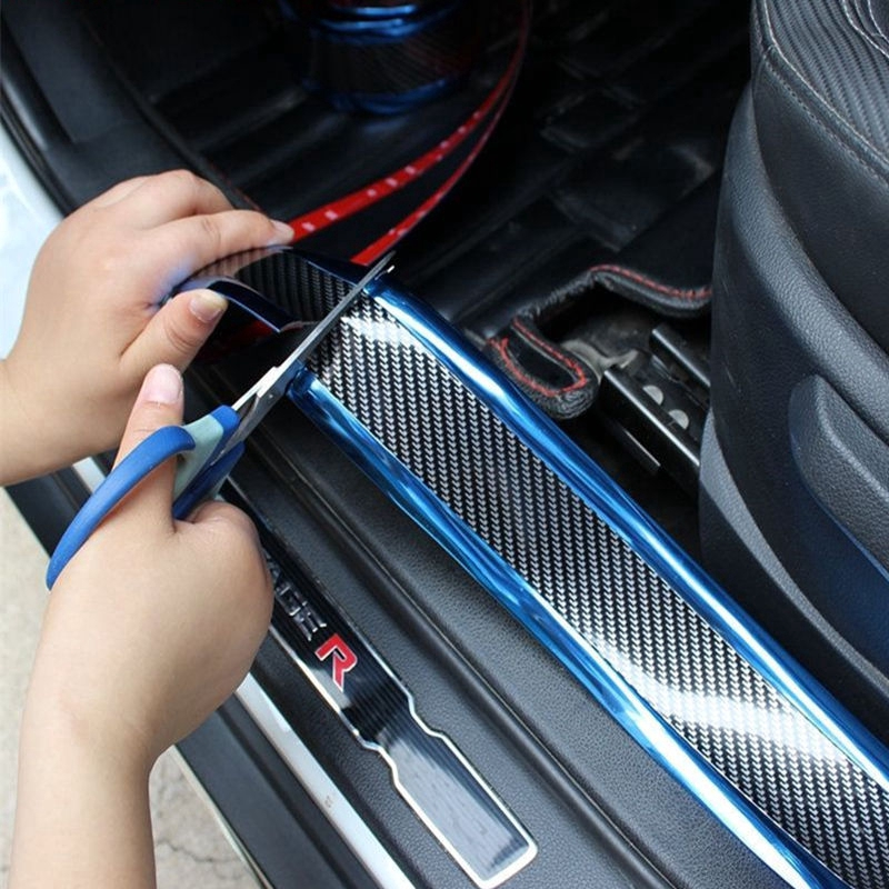 Blue 8 Pcs 3D Car Door Handle Paint Scratch Protector Sticker Safety Reflective Strips Stickers Scratch Cover Guard Protective Universal