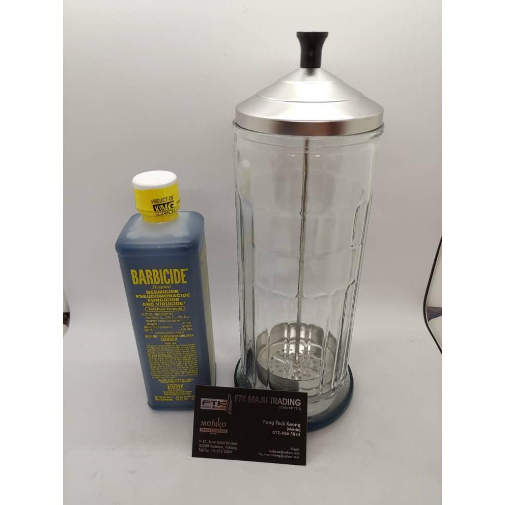 Disinfectant Jar + Barbicide Disinfectant 473ml