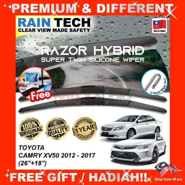 [FREE Gift] TOYOTA CAMRY XV50 2012 - 2017 (26/18) RAIN-TECH RAZOR HYBRID Silicone Aerodynamic Clean Wipe Safety Wiper Blade