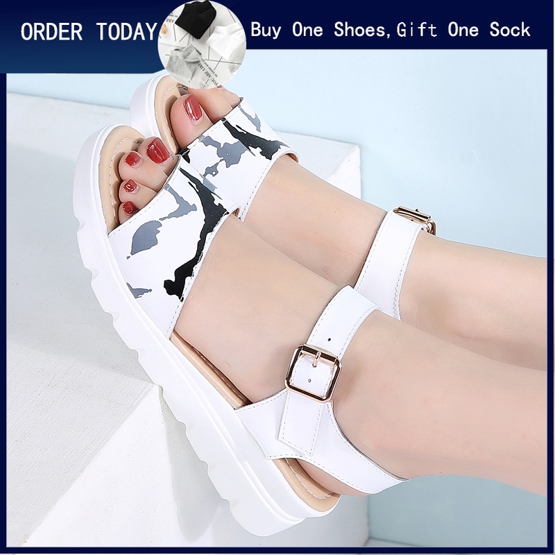 fddfec75e women sandals platform flat soft leather wedges high thick heel ...