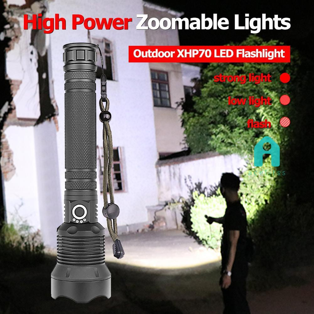 XHP70 200000LM LED USB Rechargeable 18650 Zoomable Torch Flashlight Super Bright