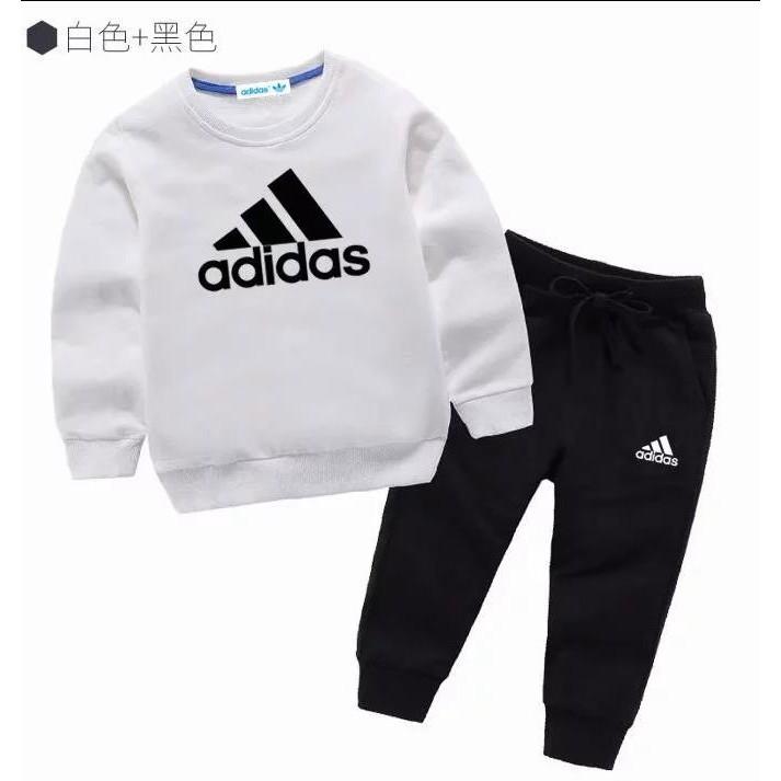 cuidadosamente Sui Estar confundido  Wholesale adidas three bar Boys girl clothing kids spring and autumnport  suit New Sport Clothing Set 2pcs | Shopee Malaysia