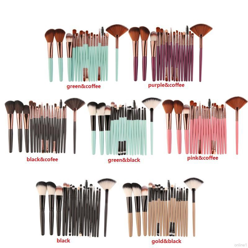 20pcs Portable Size Women Facial Makeup Brushes Wooden Handle Brushes Tools Green/&Coffee
