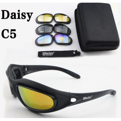 f09fdda1cd Daisy C5 Military Goggles Polarized 4 Lenses Hunting Sunglasses Desert Storm