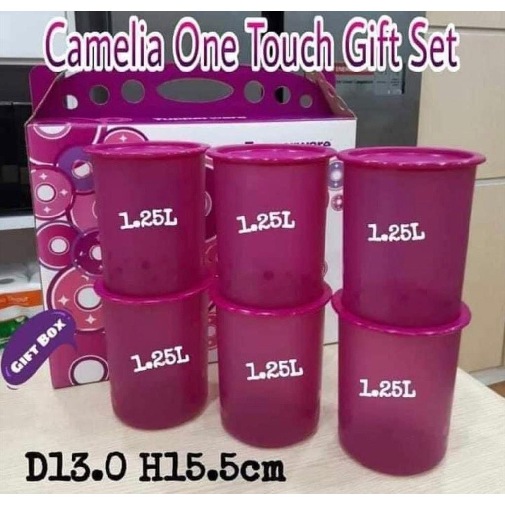 Tupperware Camellia One Touch Gift Set (6) 1.25L Set with the Gift Box or 1 Piece of 1.25L without Box / Dark Pink