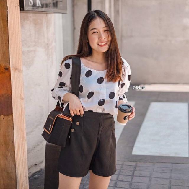 🌈🌈 เซ็ต 2 ชิ้น เสื้อคอกว้างผ้าไหมอิตาลี่ลายจุดใหญ่+ กางเกงขาสั้น