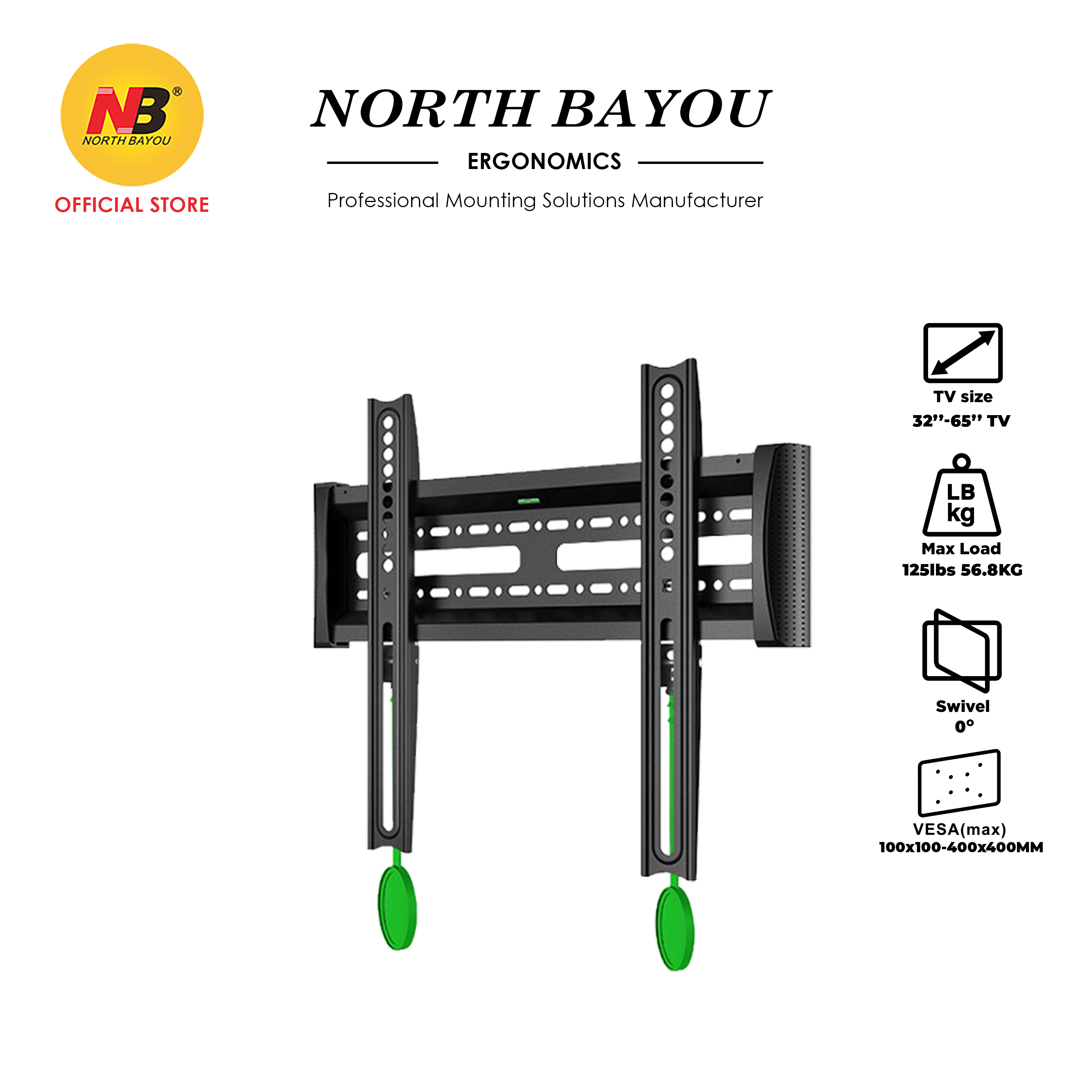 """NB North Bayou NBC2-F Adjustable TV Wall Mount Slim & Stable Bracket Fit 32"""" to 65"""" LCD LED Flat Panel TV Screens"""