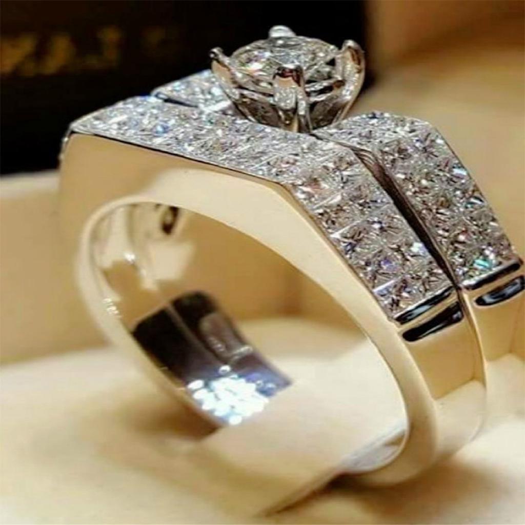Boho Female Crystal White Round Ring Set Brand Luxury