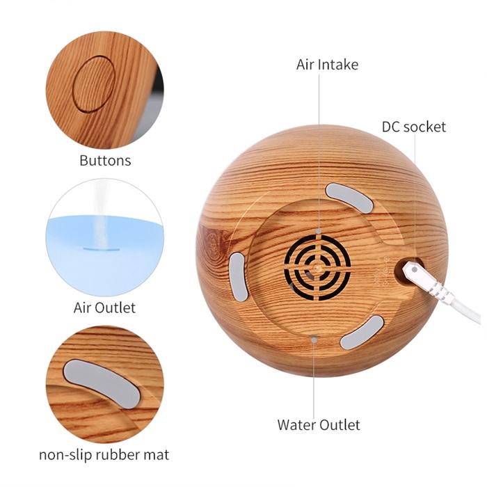 USB Aroma Diffuser Ultrasonic Oval Wood Grain (120ml)