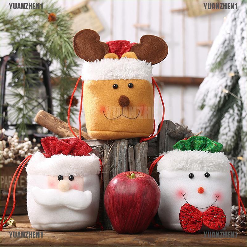 【yuanzhen1】1X Christmas Kids Gift Candy Bags Santa Claus Snowman Elk Storage B