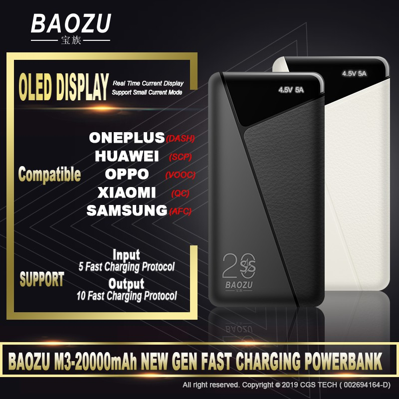 [Ready Stock] BAOZU M3 20K mAh Powerbank