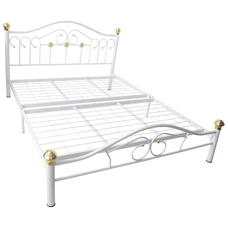 KD223 Queen Size Metal Bed Frame Double Bed White Colour | Shopee ...