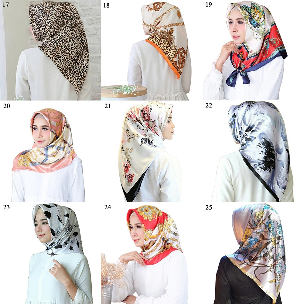 Women/'s Vintage Print Head Hijab Scarf Euro Style Soft Satin Shawl Wraps 90*90cm