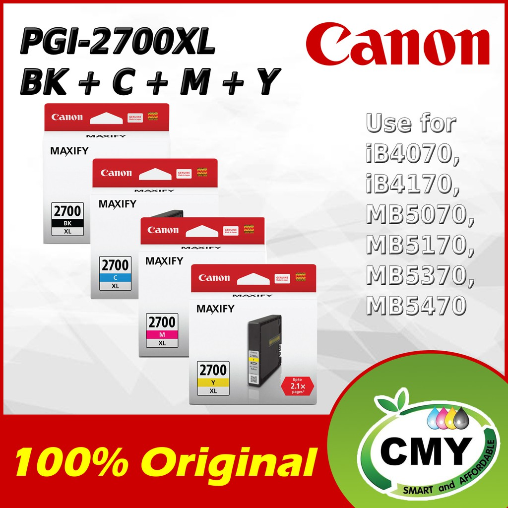 CANON PGI-2700XL BLACK CYAN MAGENTA YELLOW INK CARTRIDGE 100% ORIGINAL