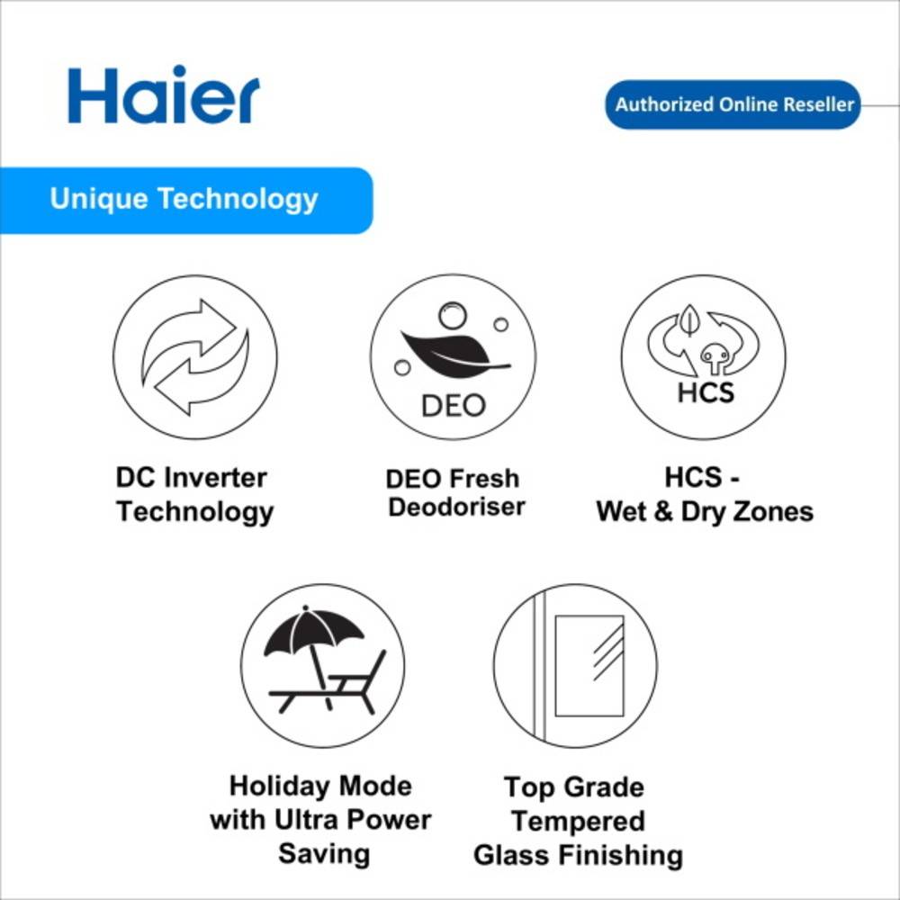 Haier 550L HRF-619SI(B) Side By Side Glass Series DC Inverter Refrigerator