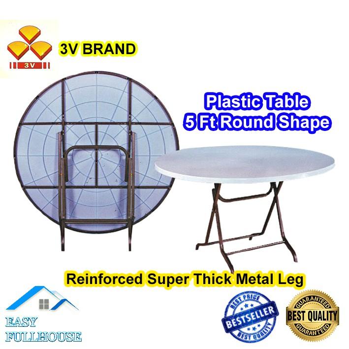 3v Big Plastic Table 5 Ft Meja, Round Table Plastic