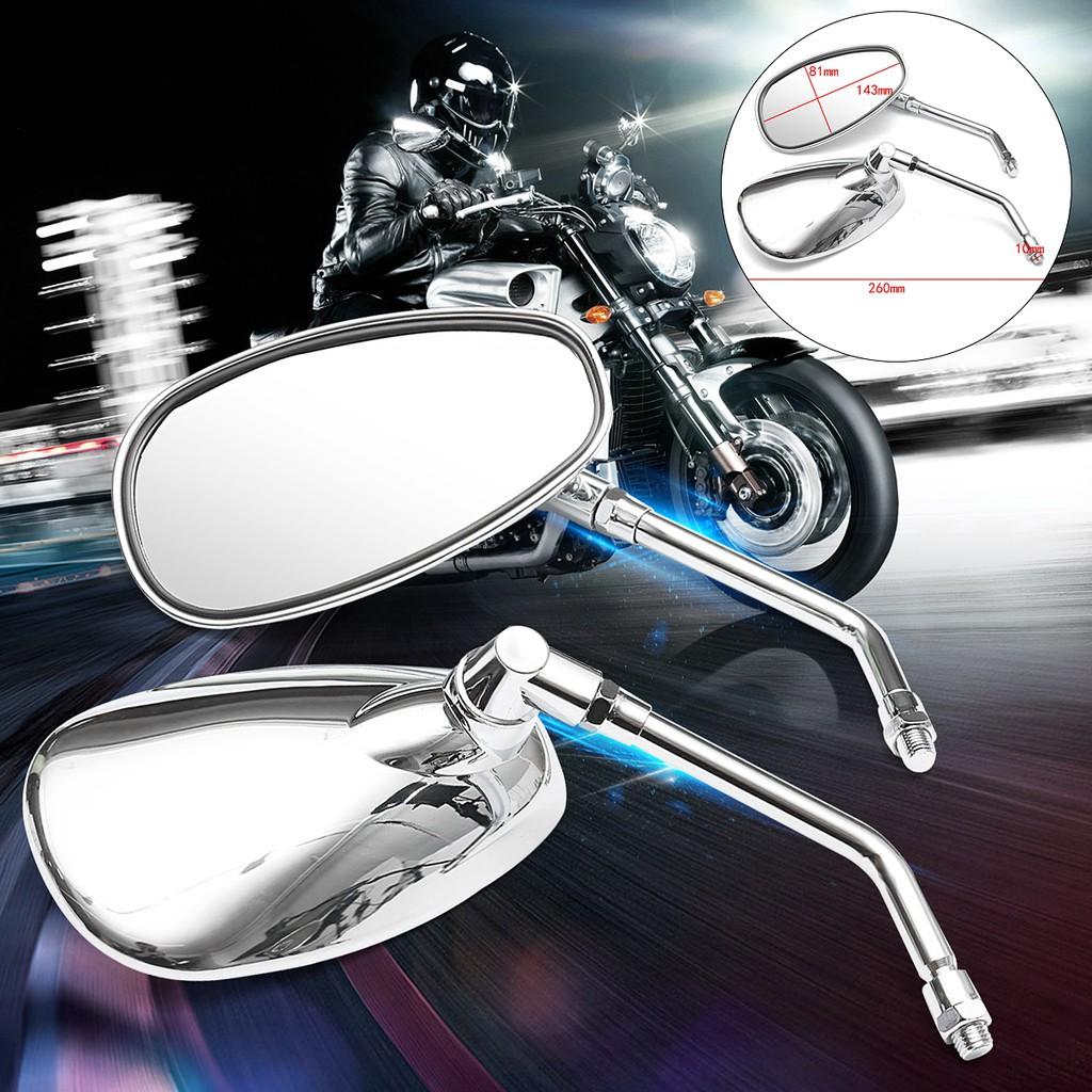 Motorbikes Universal Chrome Rectangle Rearview Side Mirrors Fit For Suzuki Honda Yamaha Kawasaki Cruiser Chopper