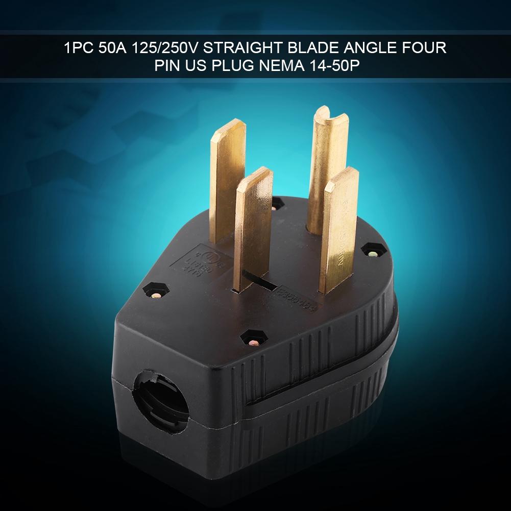 NEMA 14-50P 50A 125//250V Straight Blade Angle Plug US Four Holes Plug