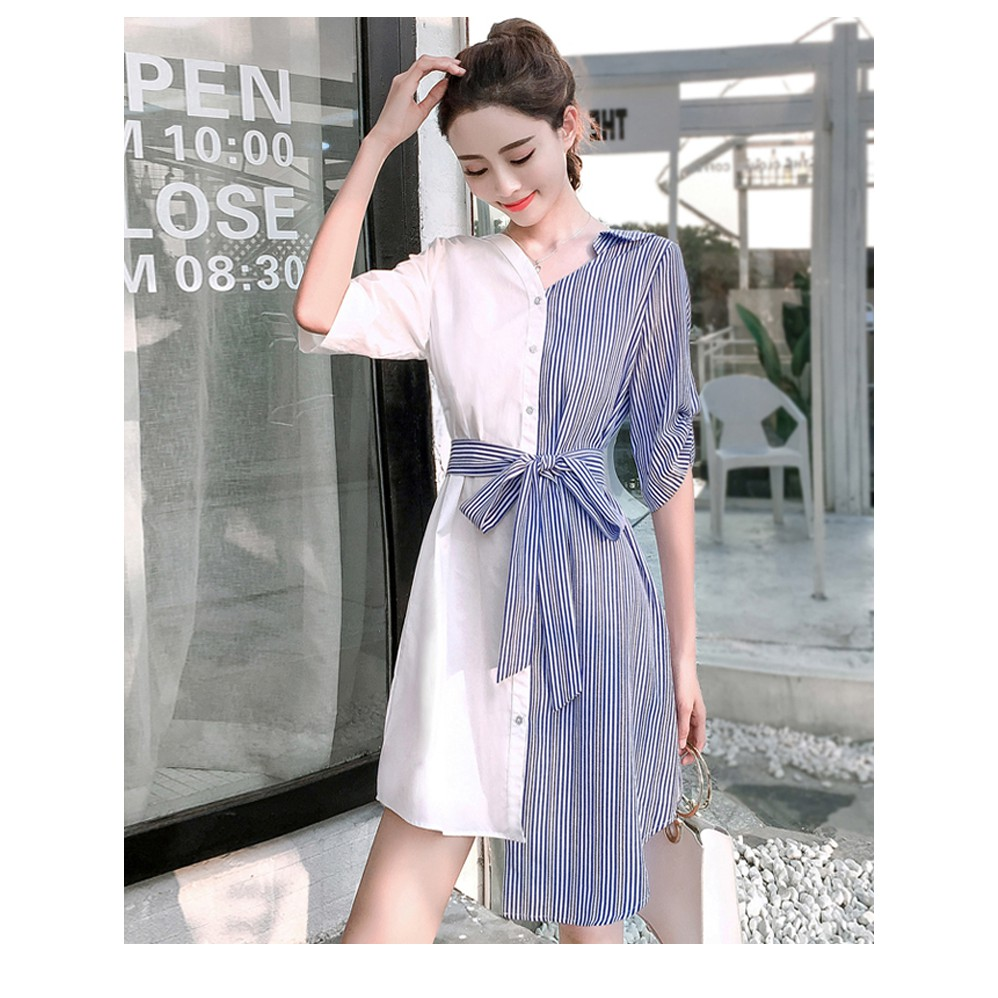 2019 NEW Korean Version Premium Quality Chiffon Striped Shirt Dress 2019雪纺收腰条纹衬衫