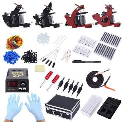 (CLEARANCE) Complete Tattoo Kit 4 Machine Guns Shader Liner Power Supply Needles Tips with Storage