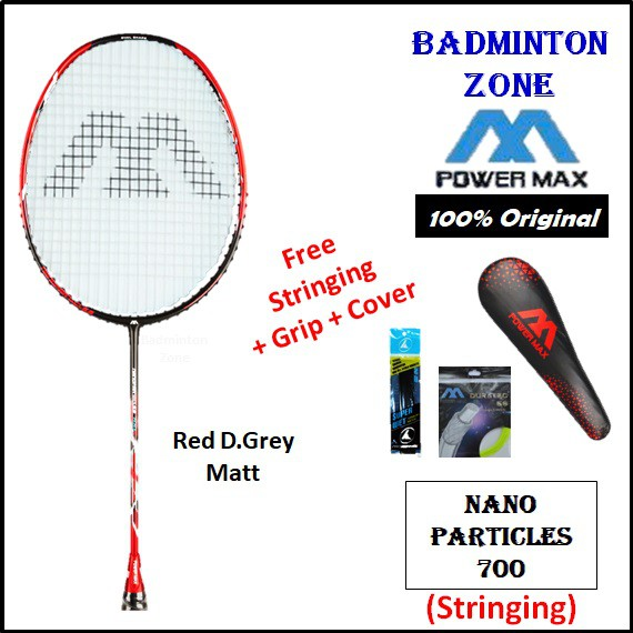 Power Max Nano Particles 700 (Red DarkGrey - Matt) Free Stringing with PowerMax Gut +Grip+Cover (1pcs) Badminton Racket