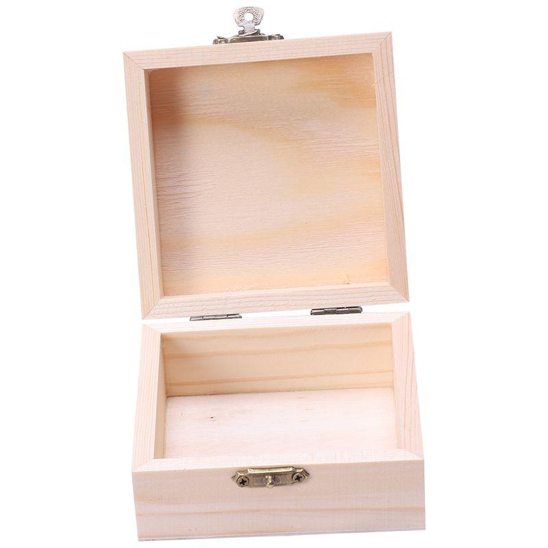 Natural Unfinished Wood Storage Box Pencil Case for Kids Toys DIY Crafts Art