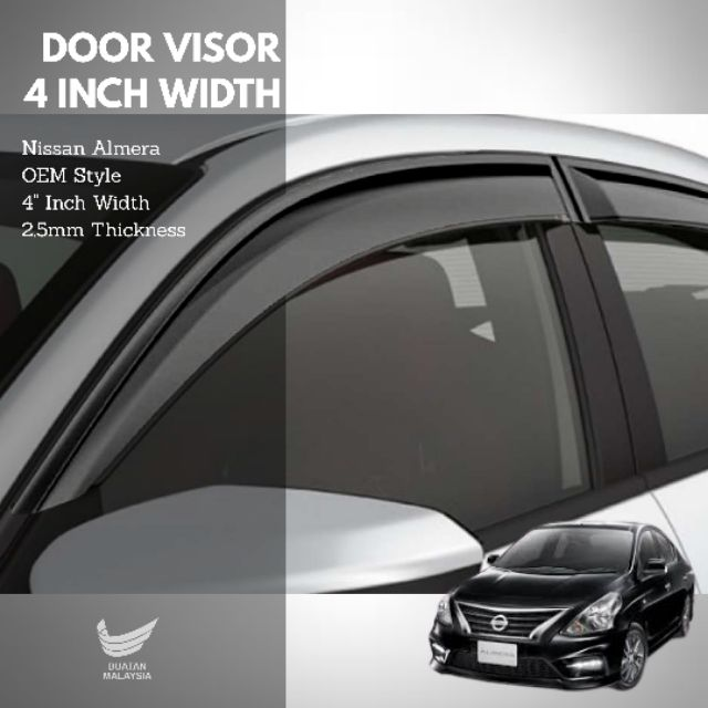 """Nissan Almera Door Visor 4"""" Inch Width 2.5mm Thickness Air Press Window Visor OEM Style with packing boxes"""