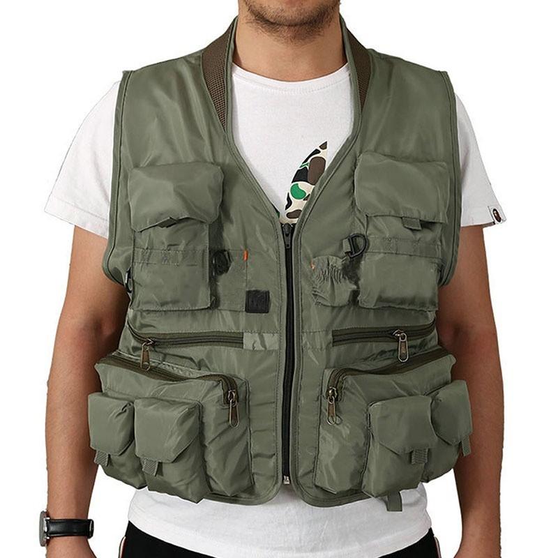 Men Utility Multi Pocket Hunting Shooting Fly Fishing Mesh Vest Foldable 4XL