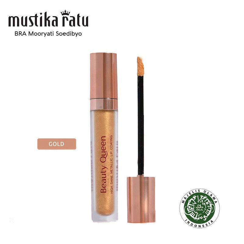 Mustika Ratu Beauty Queen High Shine Metallic Lip Coating Gold 5.5ml