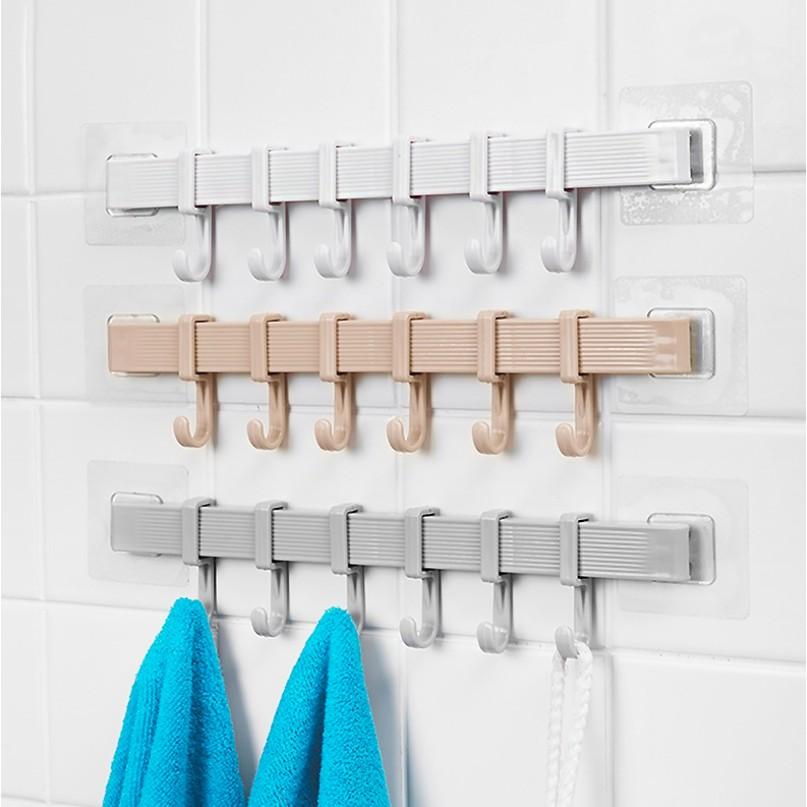 Towel Key Hook Rail with 6 Hooks, Durable Wall Mounted Hangers