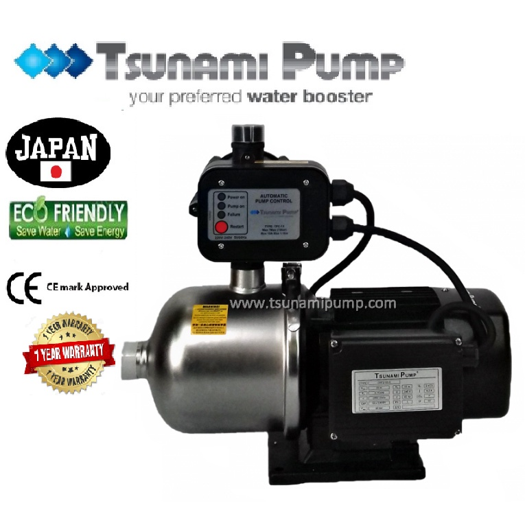 Tsunami CMF2-60-K Food Grade Stainless Steel Casing Home Auto Booster Pressure Water Pump【1 Year Warranty】