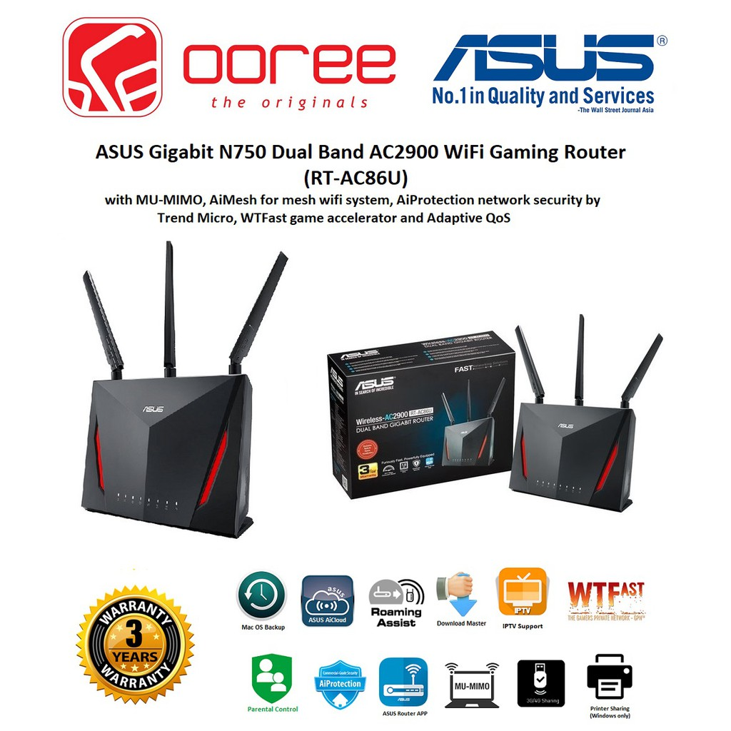 ASUS RT-AC86U N750 DUAL BAND AC2900 GIGABIT WI-FI ROUTER WITH 3 EXTERNAL  ANTENNA