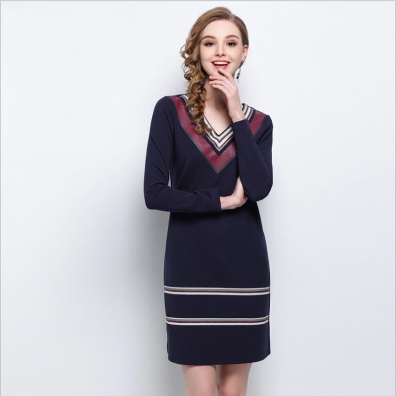 20a61cb3dc5c9 2018 Fashion Dresses Patchwork Long Sleeve Spring Autumn Women's V Neck  Black