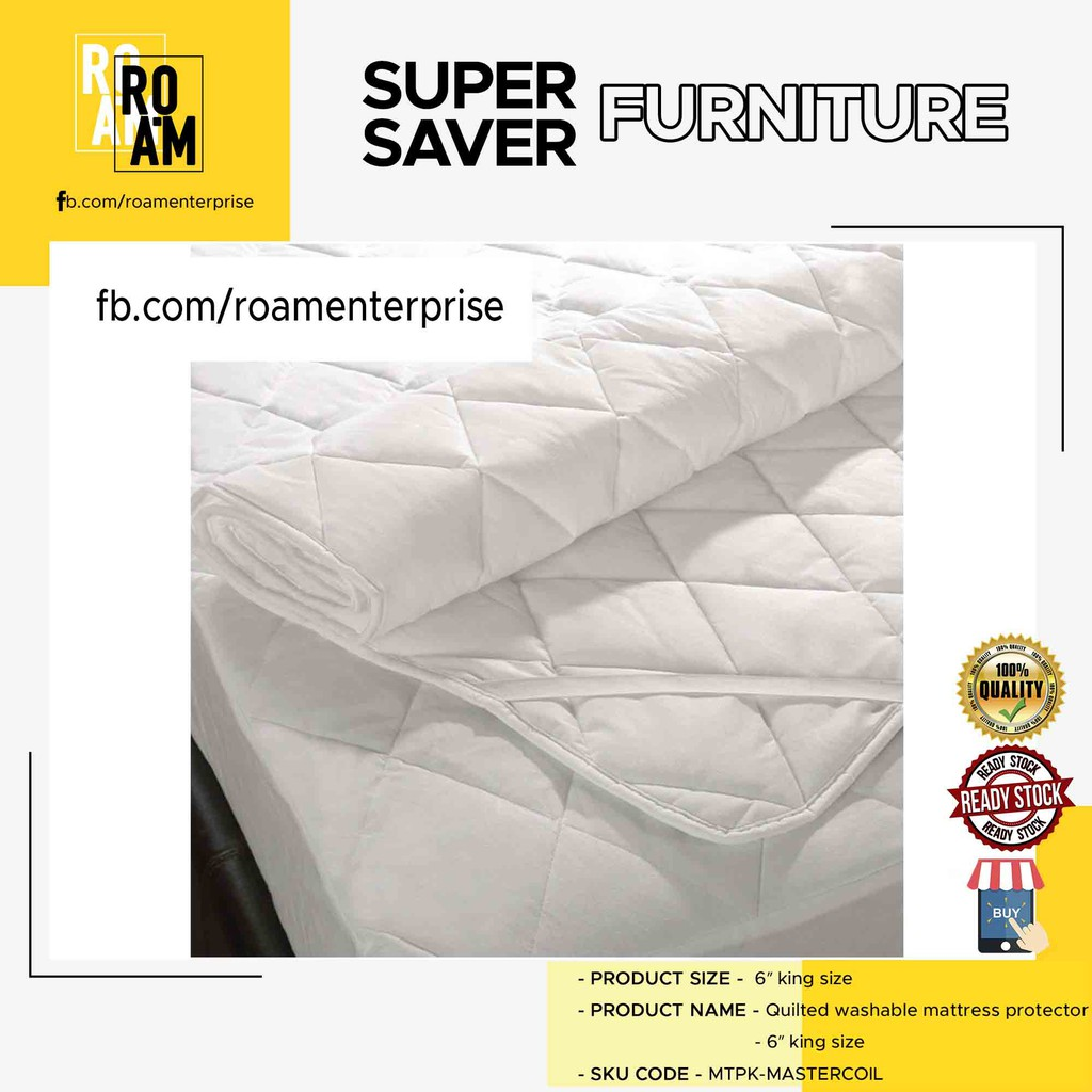 QUILTED WASHABLE MATTRESS PROTECTOR- 6′ KING SIZE
