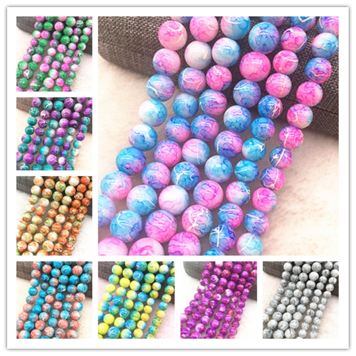 NEW 100PCS 4mm Glass Round Pearl Spacer Loose Beads Pattern Jewelry Making 28