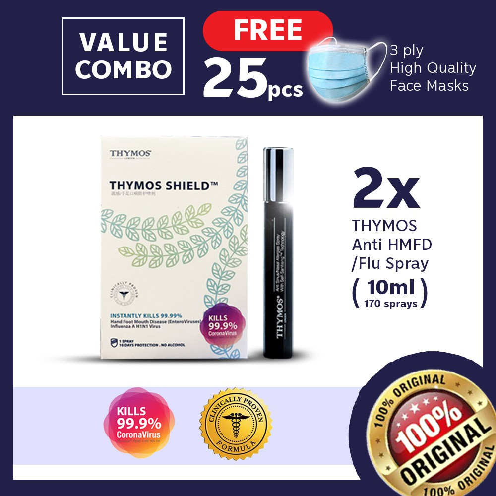 【Clinical Proven Sanitiser FREE 25 Face Cover】2x 10mL Thymos- H1N1, Corona, HFMD
