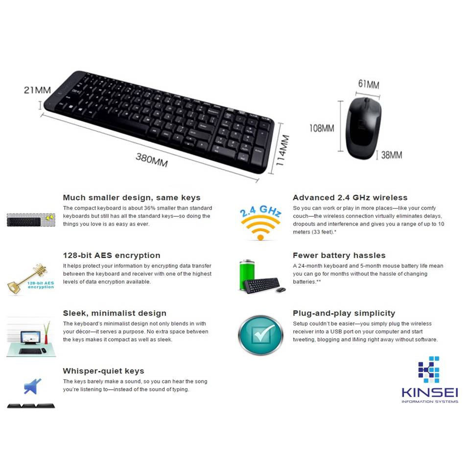 4a854ec12a8 Logitech USB Wireless MK220 Combo Keyboard and Mouse (920-003235 ...