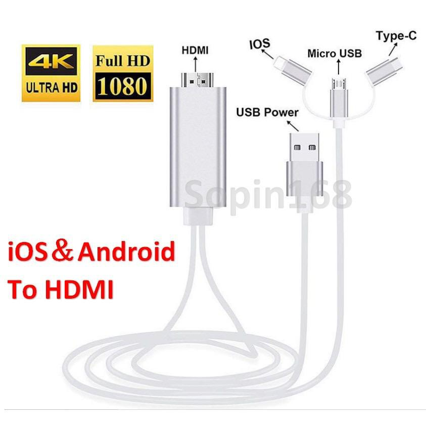 3 in 1 HDMI USB Cable for iPhone Lightning Android Micro USB Type C to HDMI HDTV Digital AV Adapter for iPhone X Huawei