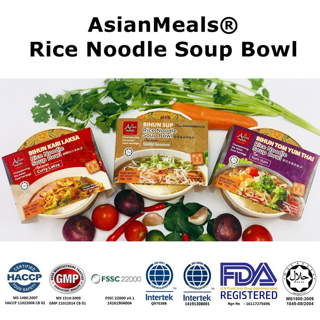 🔥HOT ITEM🔥 AsianMeals® Rice Noodle Soup Bowl/ Tomyum/Garlic Sesame/Curry Laksa 110gm *Ready Stock**HALAL*