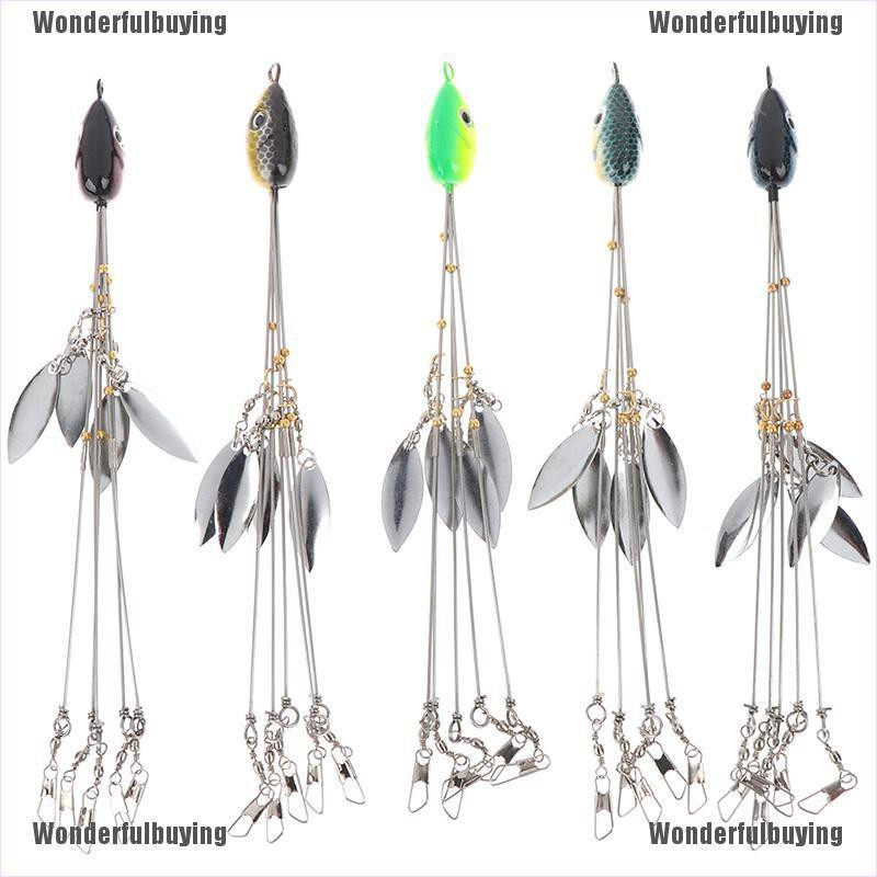 [Ready Wonderfulbuying] 1pc Umbrella Fishing lure Rig 5 Arms Rig Head Fishing Group Lure Extend