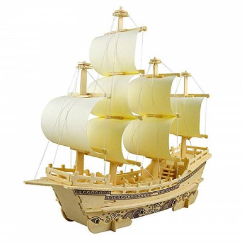 9a823fdf894c 3D Wooden Puzzle Toy Mini Ship Boat Model (WOOD)