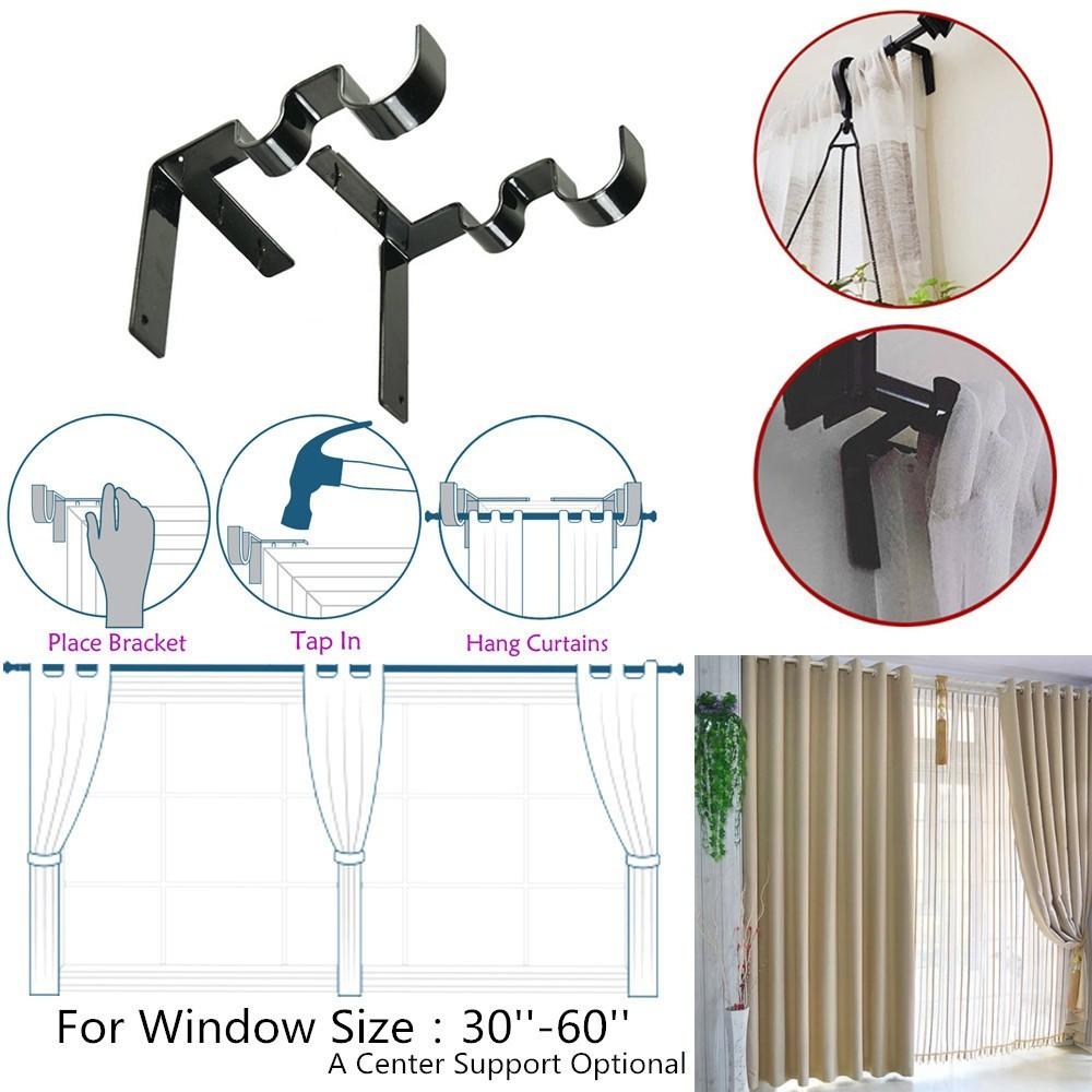 Kwik Hang Double Center Support Curtain Rod Bracket Shopee Malaysia