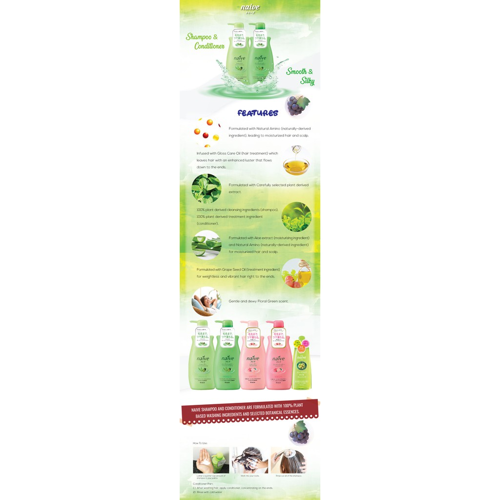2 x Naive Shampoo (Smooth & Silky) Jumbo 550ml   Shopee Malaysia
