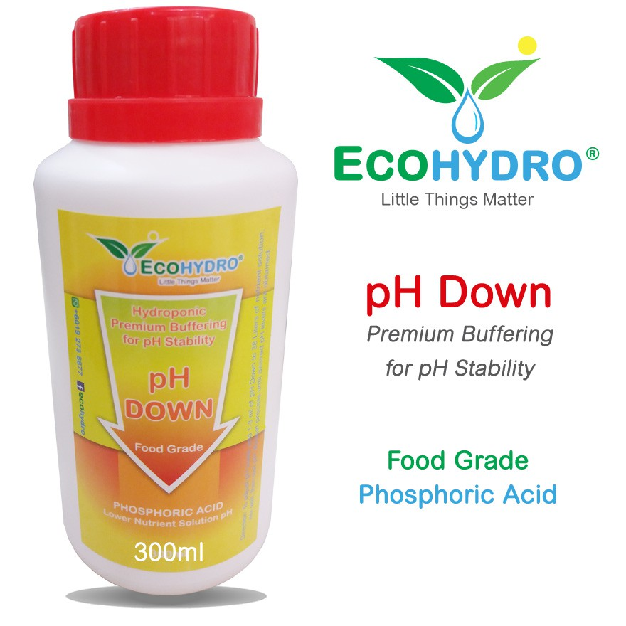 300ml FOOD GRADE pH Down (Acid) Hydroponics Phosphoric Acid EcoHydro phdown
