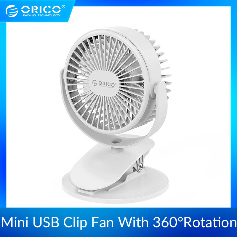 ORICO Portable USB Fan with Key Switch Angle adjustable Rechargeable Clip