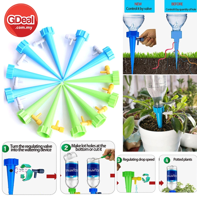 GDeal 12pcs Automatic Valve Water Device For Garden Lawn Adjustable Self Watering Spikes With Slow Control Valve Switch